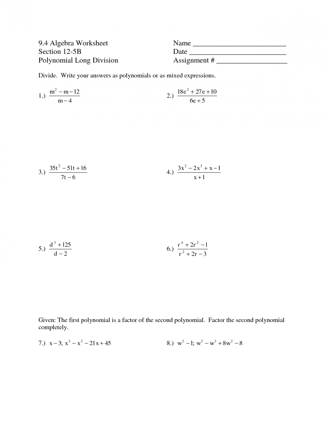 Polynomial Puzzle Worksheets
