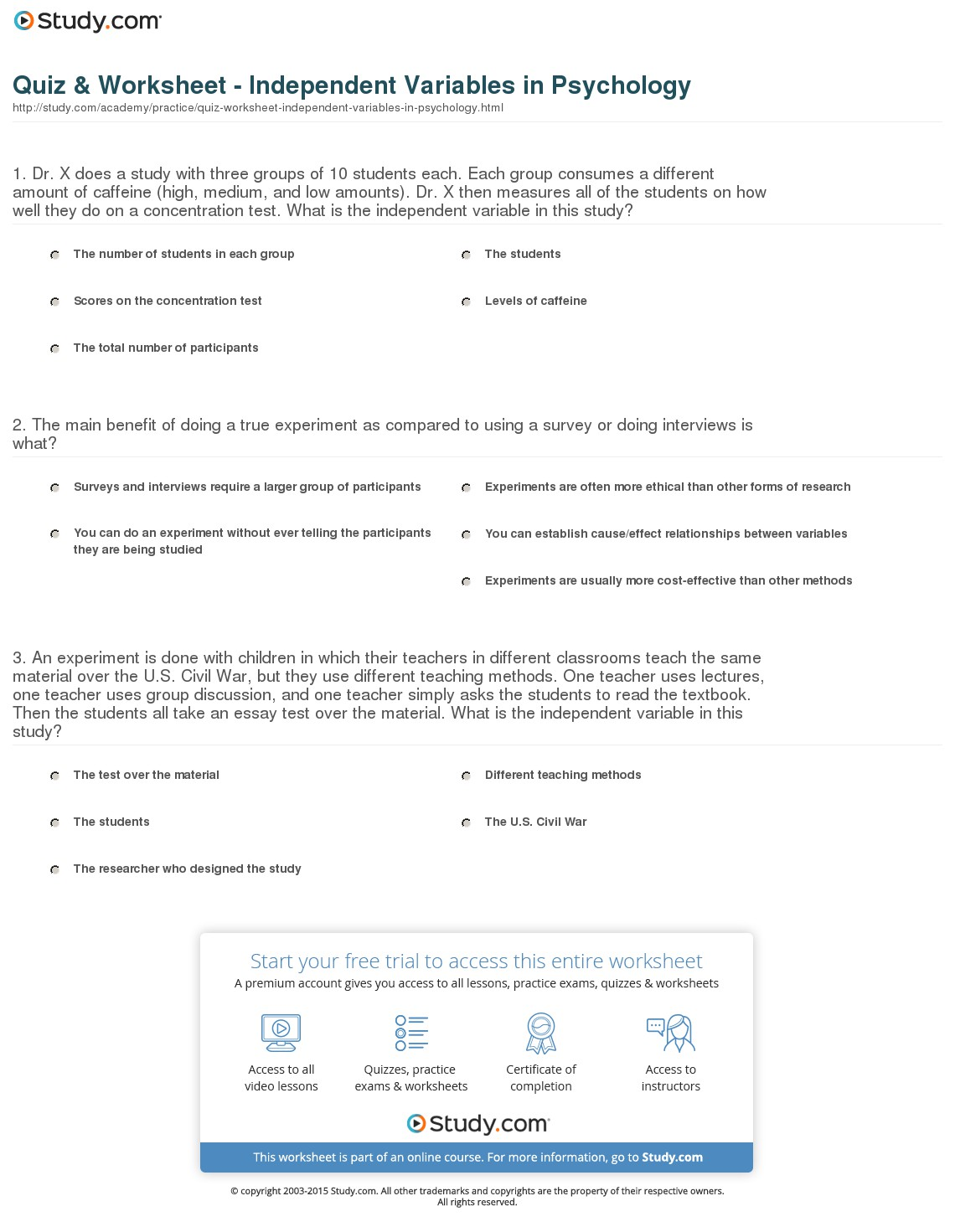 Dependent Variable And Independent Variable Worksheets