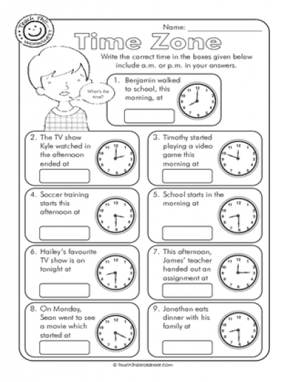 Teaching Time Zones Worksheets