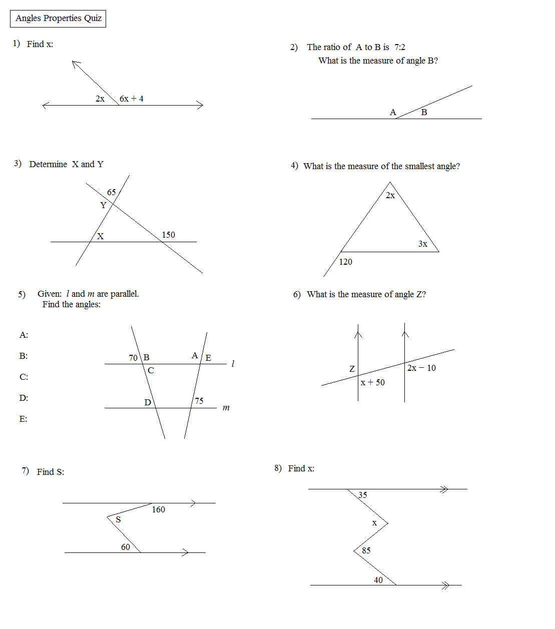 Properties Of Angles Worksheets