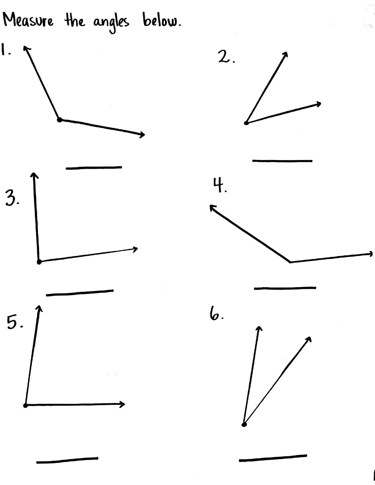 Angle Worksheets