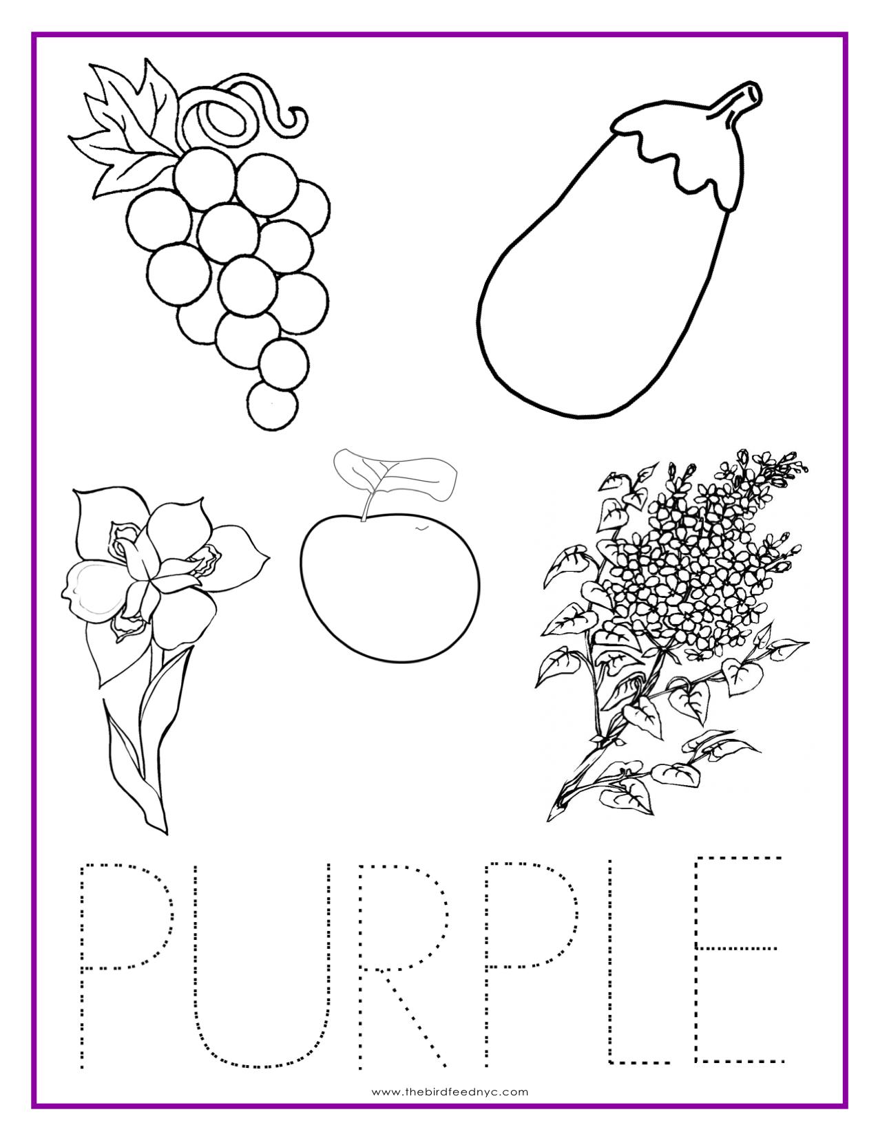 Color Purple Worksheets For Preschool