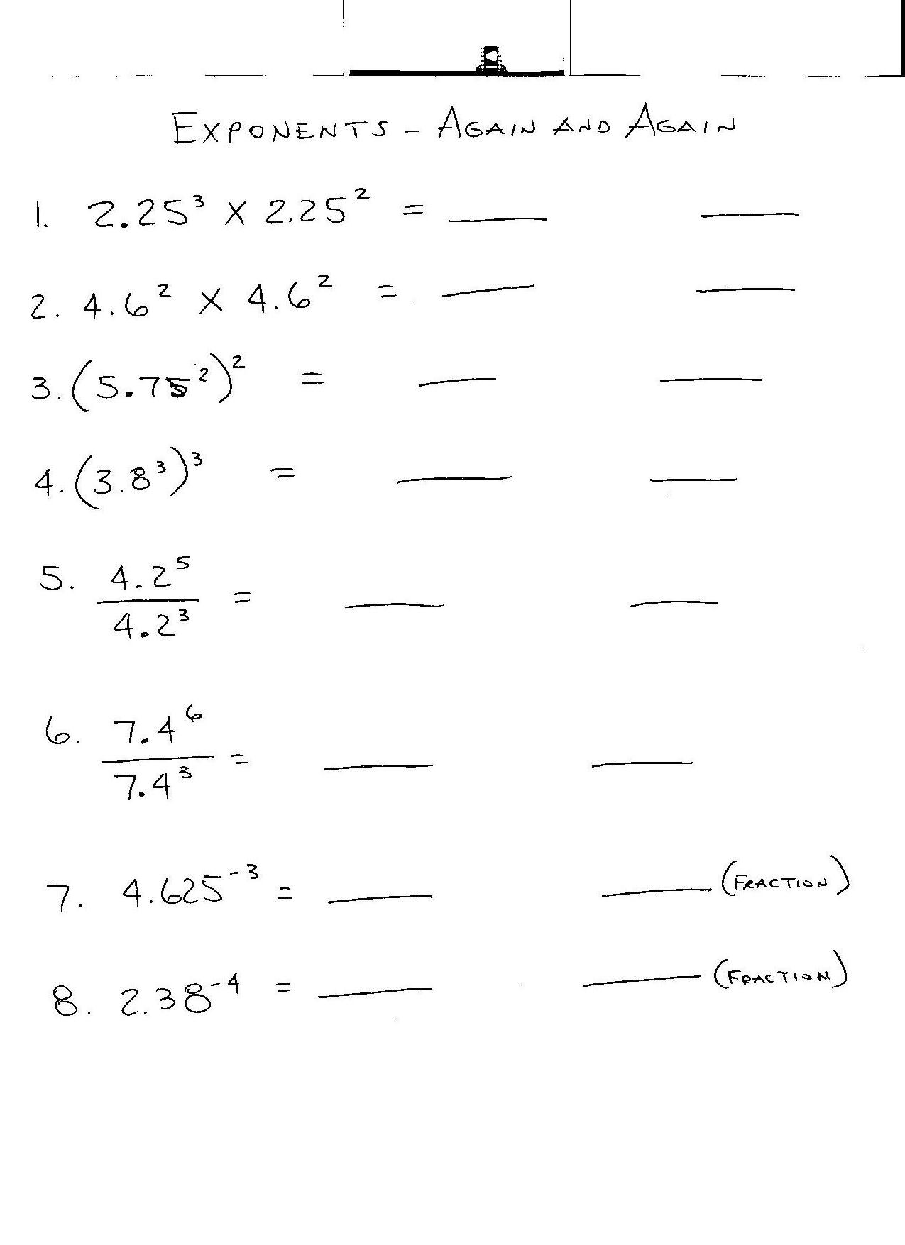 Exponent Worksheets For 8th Grade