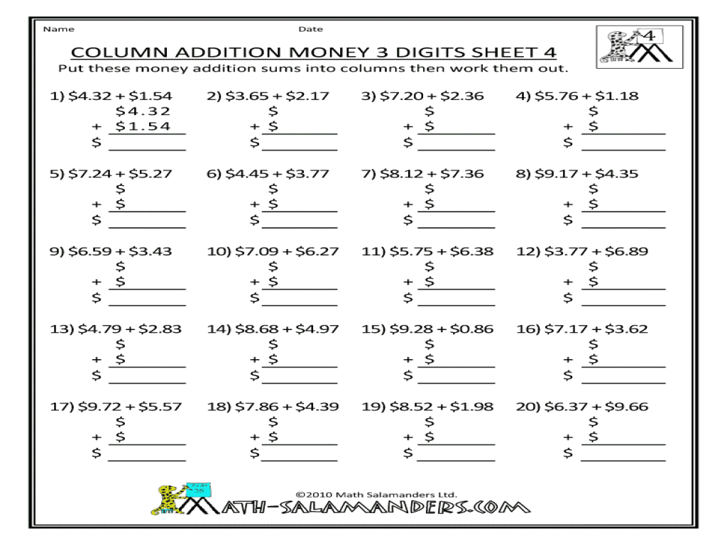Expanded Addition Worksheets