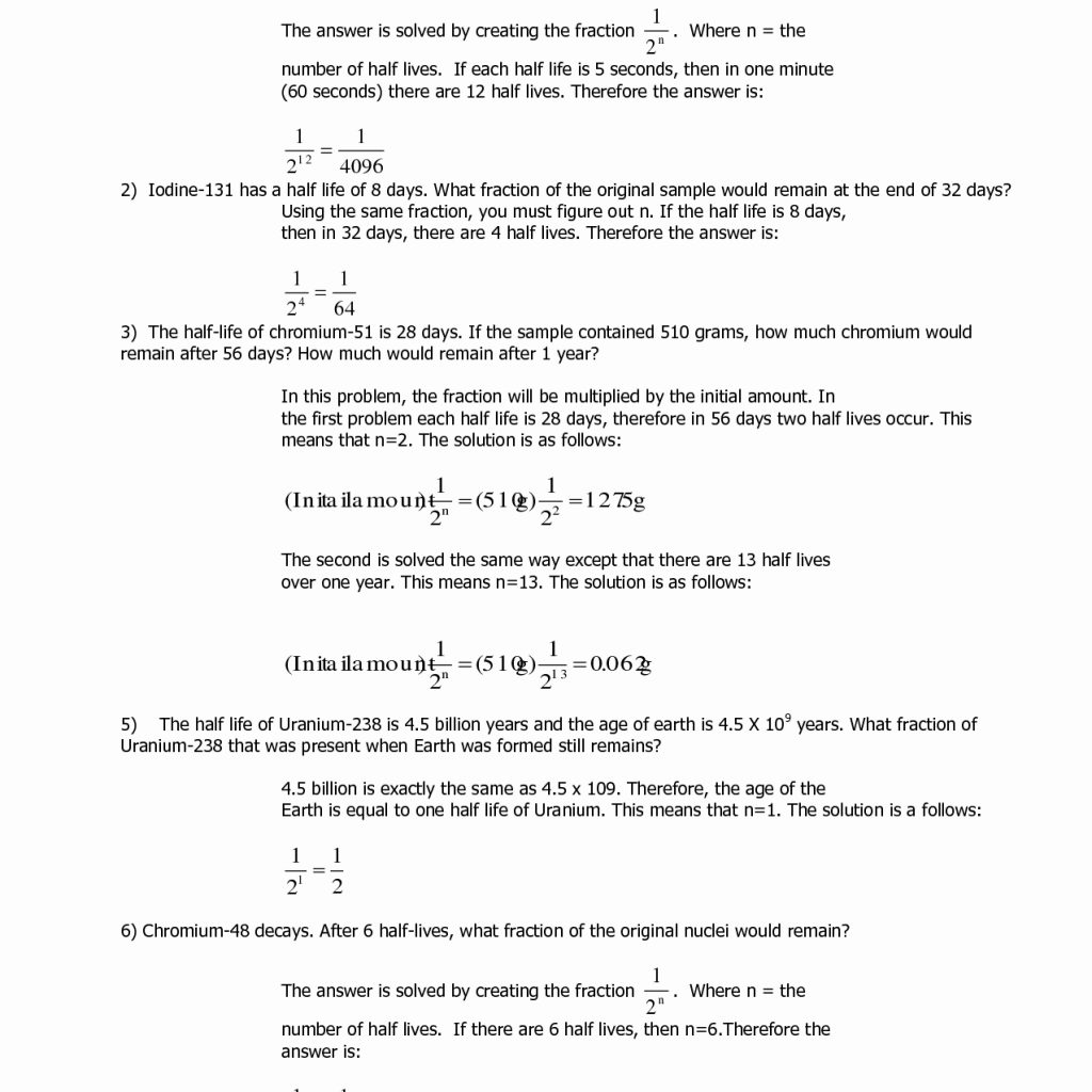 Half Life Practice Worksheets Answers