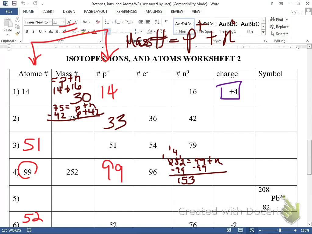 Atom Ion Isotope Worksheets