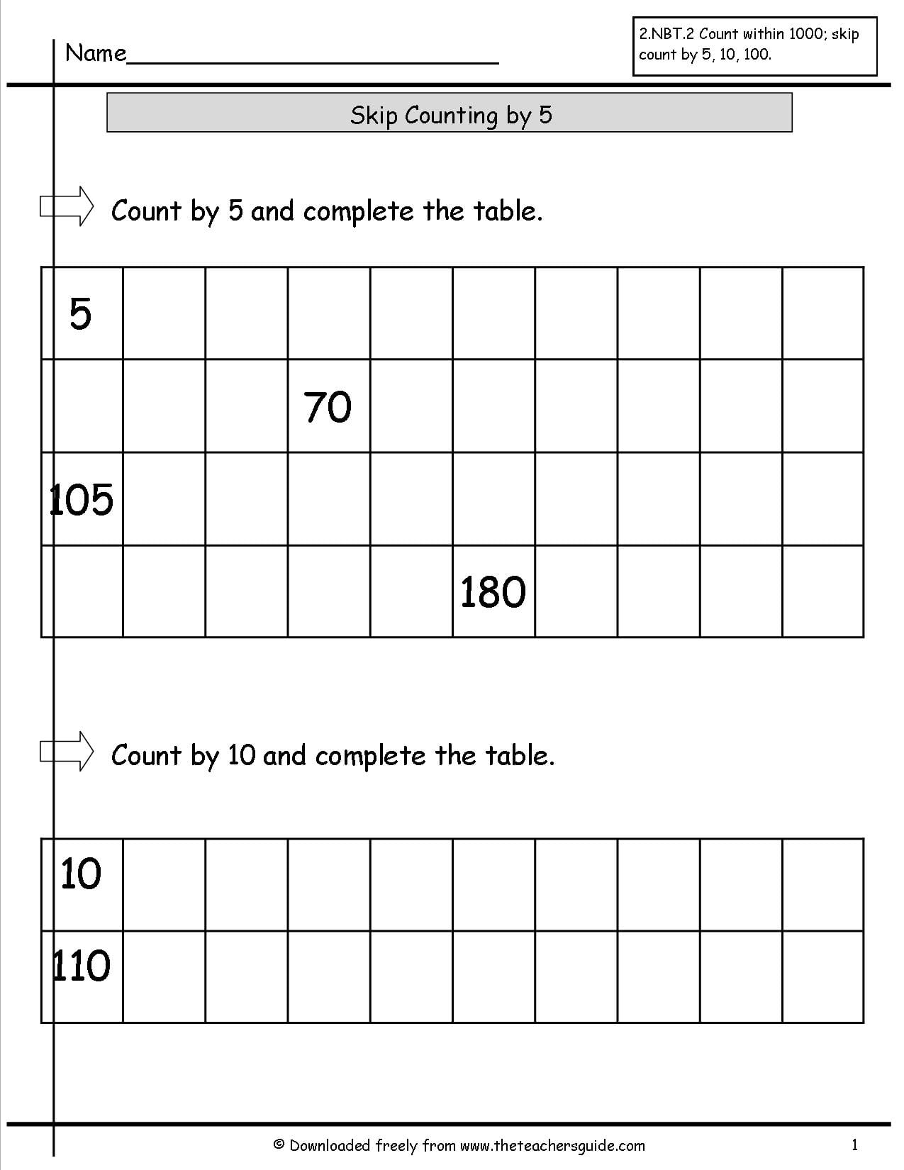 Skip Counting By 5 10 100 Worksheets