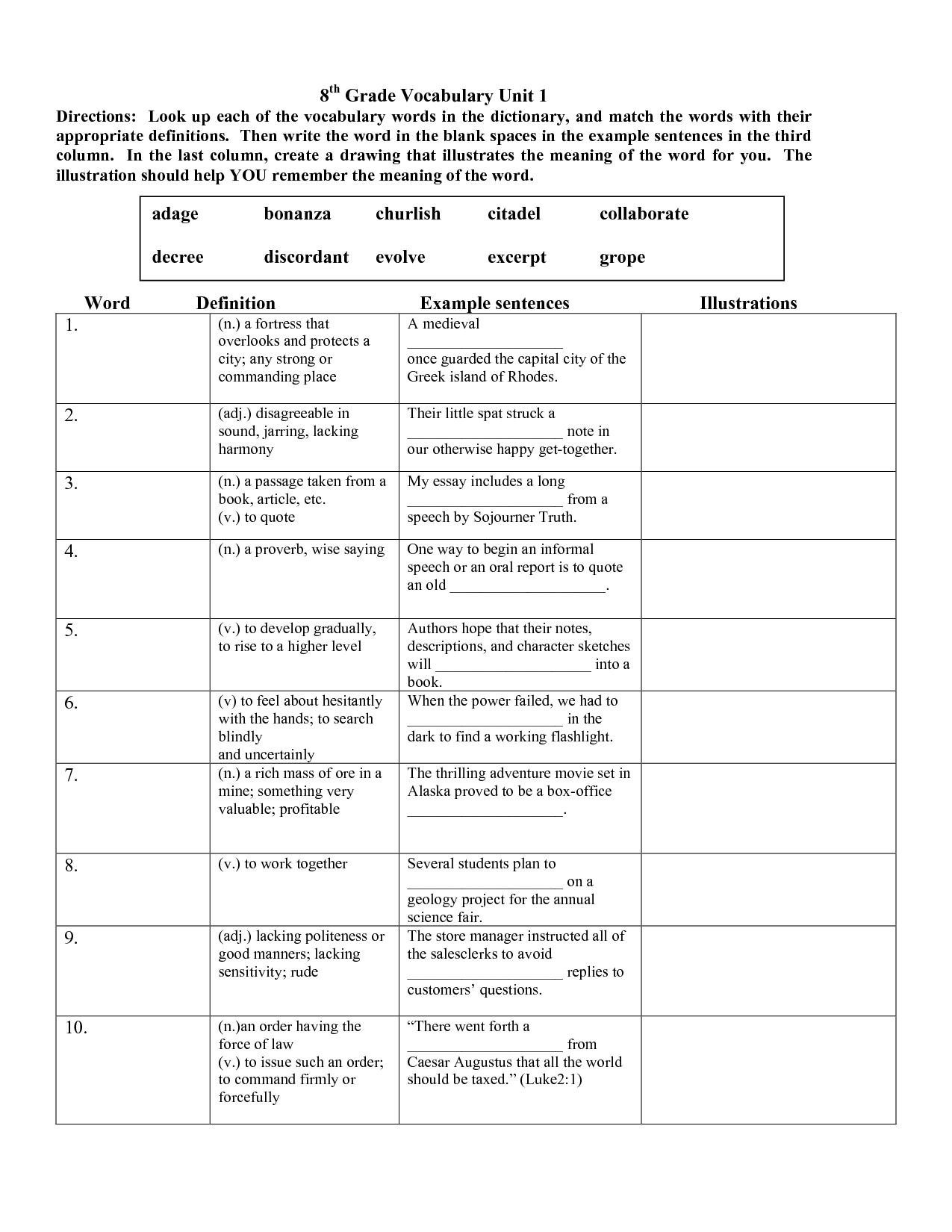 Vocabulary Worksheets 8th Grade