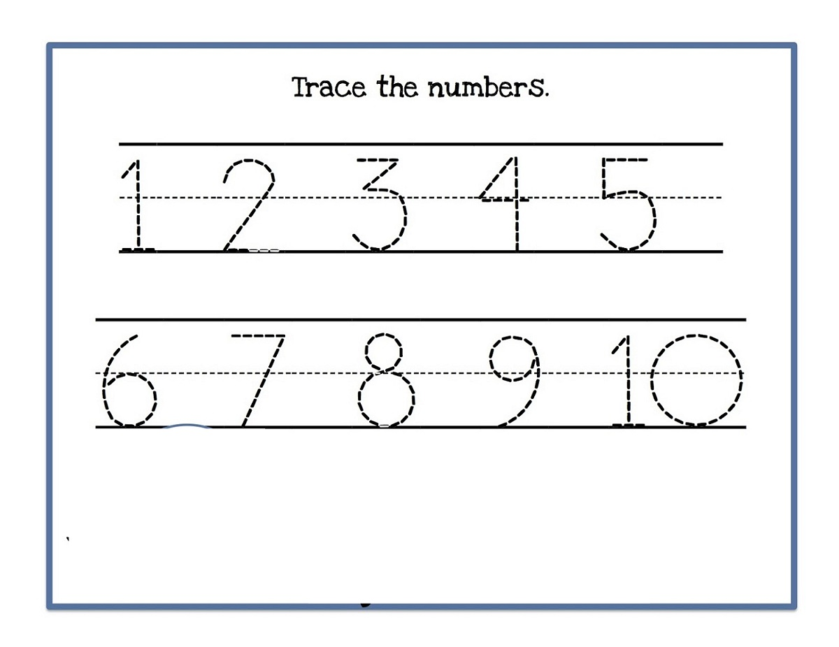 Tracing Numbers 1 10 Printable Worksheets