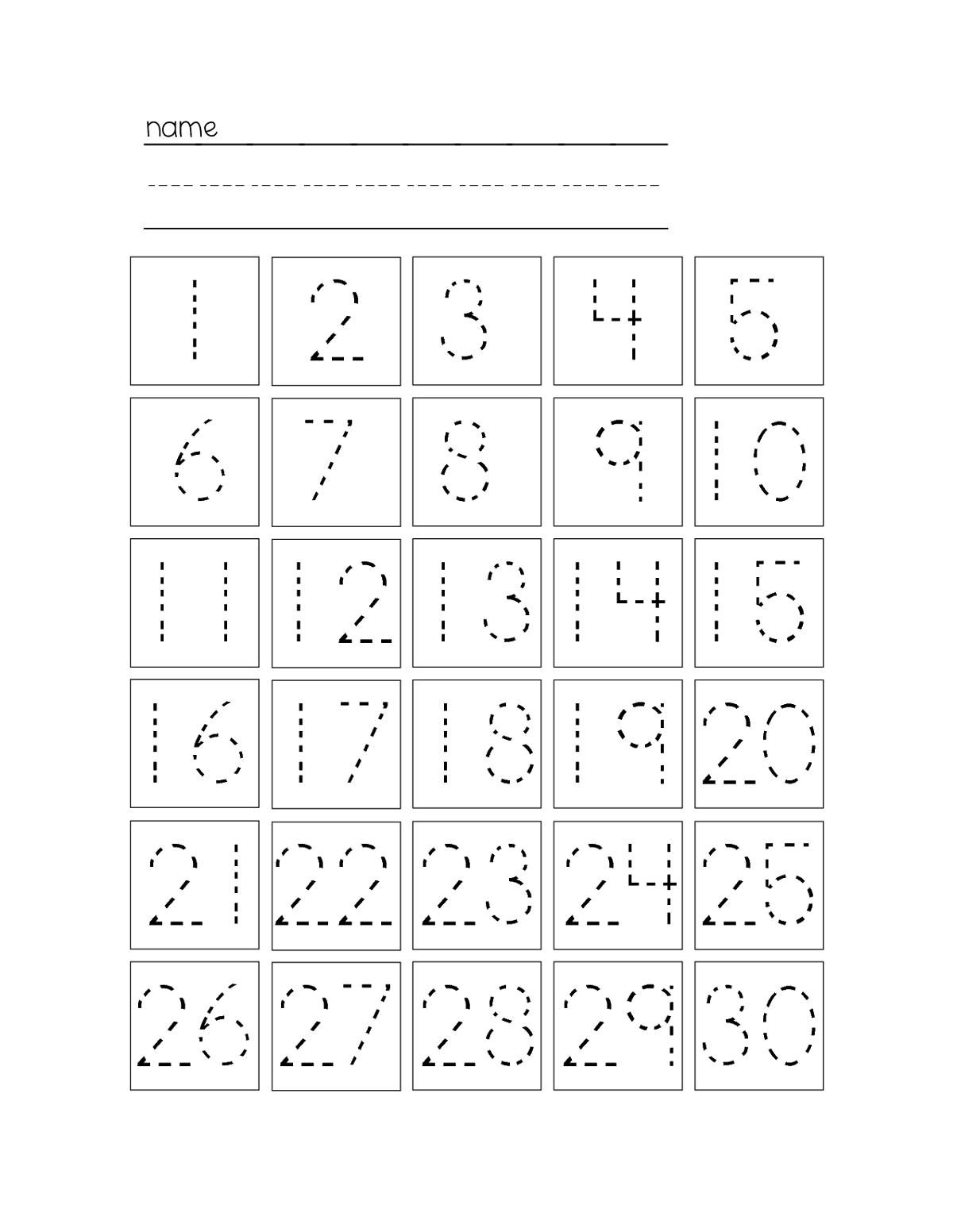 Number 1 30 Worksheets