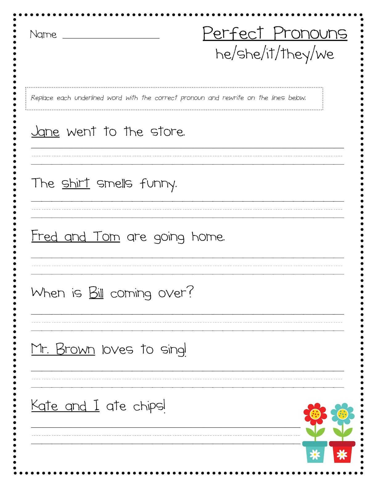 Pronoun I Worksheet For 1st Grade Worksheets Samples