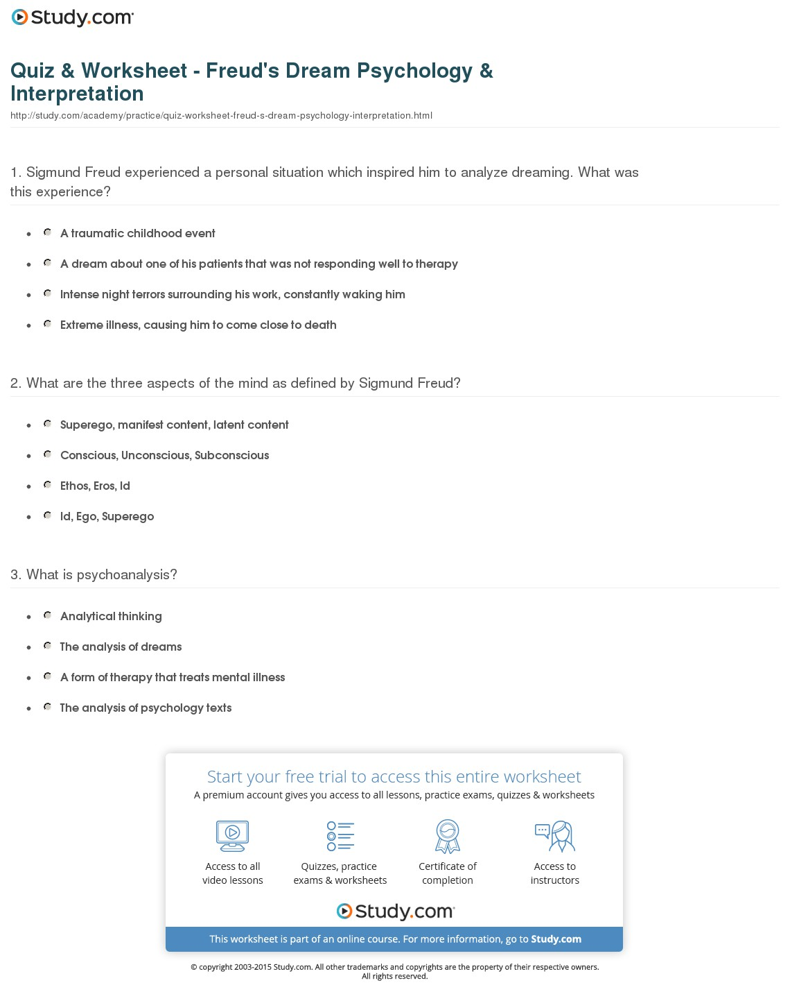Dream Interpretation Worksheets