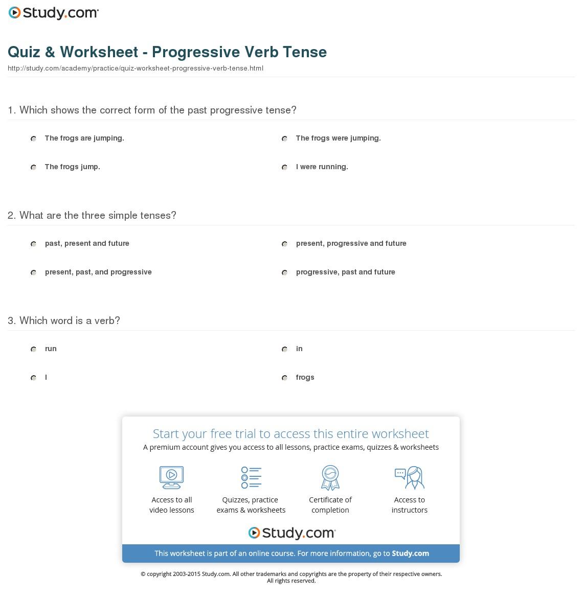 Progressive Tense Worksheets
