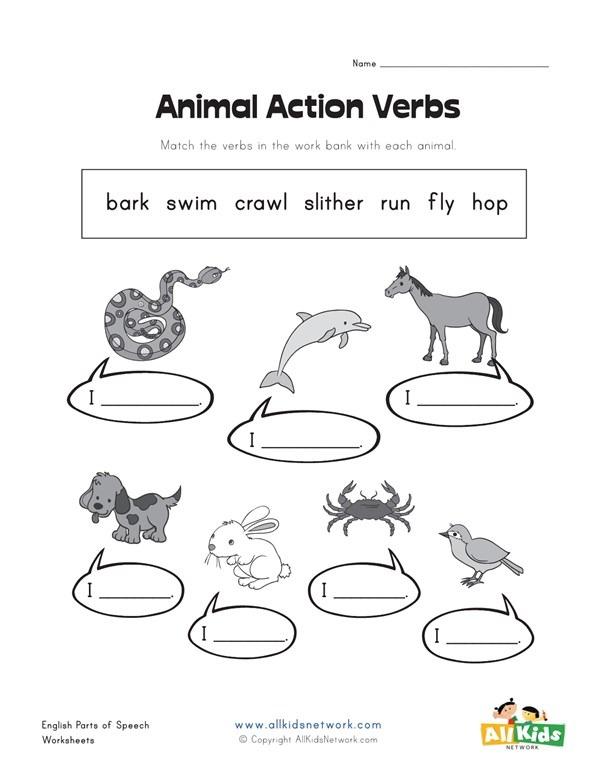 Action Verbs Worksheets For Kids