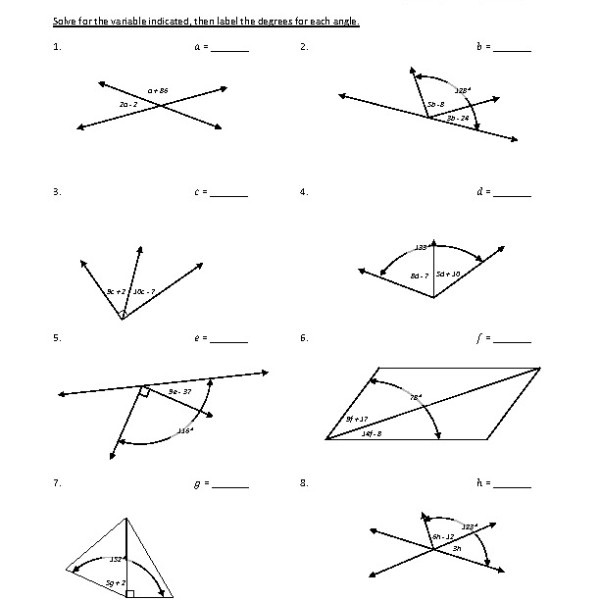 Eighth Grade Adjacent Angles Worksheet 10 â One Page
