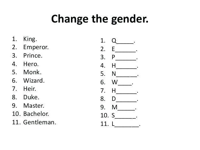 Gender Of Nouns Worksheets For Grade 1