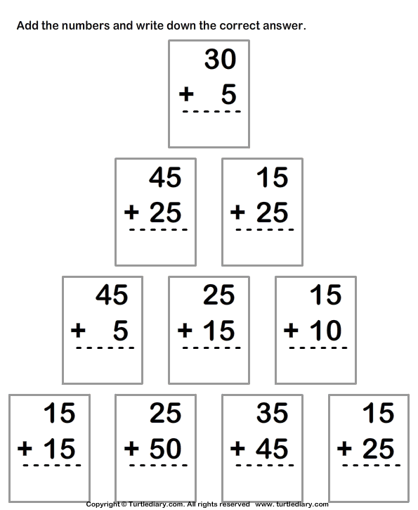 Adding 2 Digit Numbers Worksheets