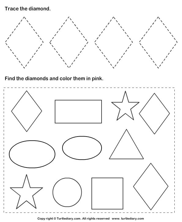 Diamond Tracing Worksheets