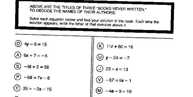 Algebra Pizzazz Worksheets Answers
