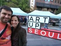 Exposición de arte el en paseo de Cheonggyecheon