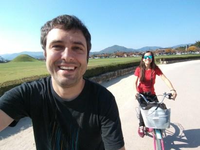 En bici por el parque Wolseong en Gyeongju