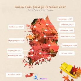 Pronóstico del follaje de otoño en Corea