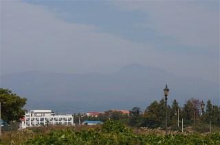 Volcán Hallasan en el horizonte
