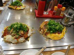 Okonomiyaki con gambas y ostras, Hiroshima