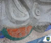 """Мозаика """"Море и рыбы"""": во Львове восстановили стену с рельефом"""