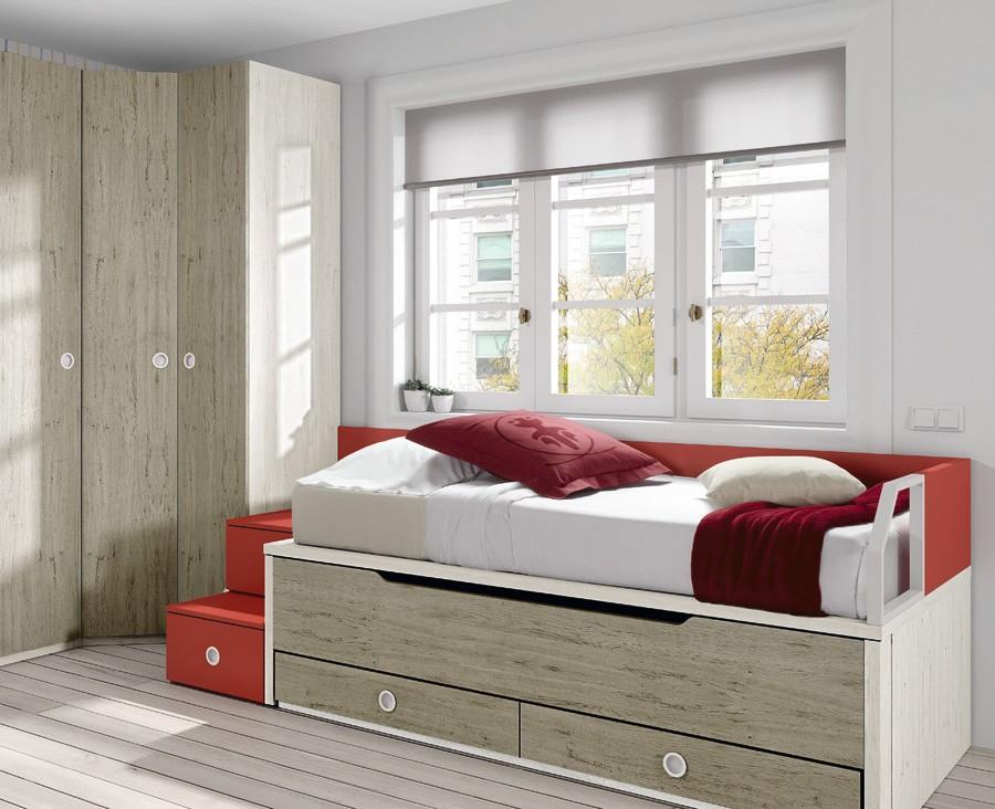chambre ado composee de lit compact armoire d angle bureau et etageres