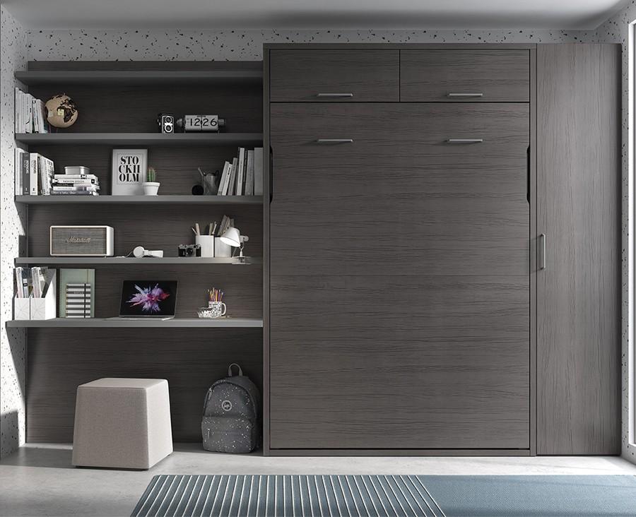 chambre adulte avec lit escamotable armoire et bureau avec etageres