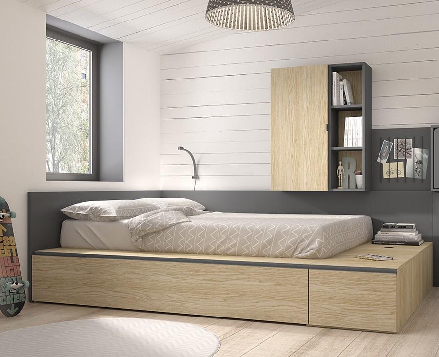lit gigogne avec 1 tiroir et 3 coffres de rangement