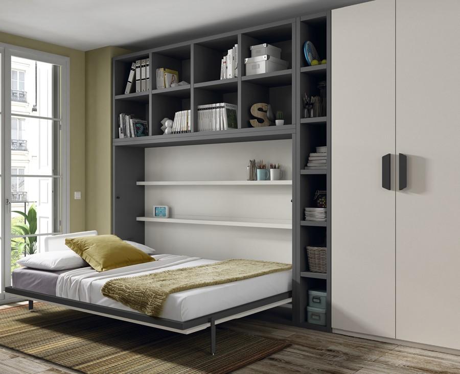 lit escamotable jeune horizontal avec etageres
