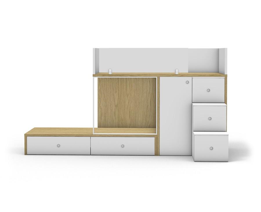 lit superpose avec 2 tiroirs armoire a 1 porte et escalier a 3 marches tiroirs