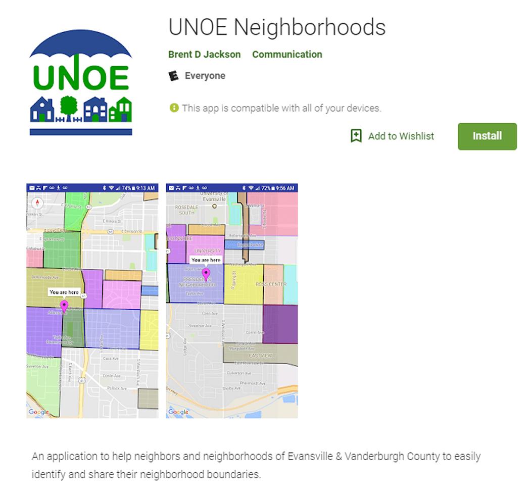 UNOE Neighborhoods App | United Neighborhoods of Evansville