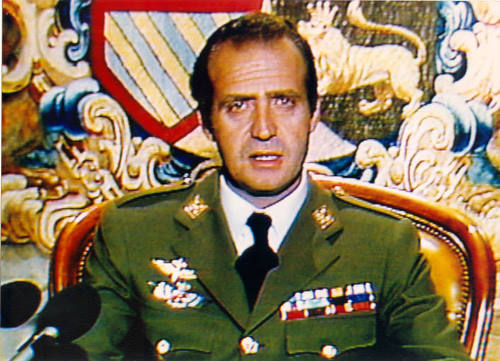 King Juan Carlos addressing the nation, February 23, 1981. photo: BBC