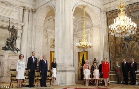 The abdication ceremony of King Juan Carlos in the Hall of Columns. source: Daily Mail/EPA