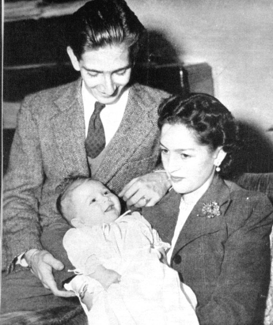 Peter and Alexandra with Prince Alexander, 1945. source: Royal Family of Serbia