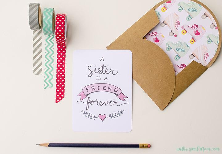 Free Printable Sister Valentine Note Card UnOriginal Mom