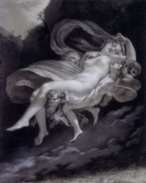 "Pierre-Paul Prud'hon, ""Psiche rapita da Zefiro"", Matita nera, gesso bianco, sfumino su carta azzurra. Incorniciato a matita nera, 33 x 17 cm."