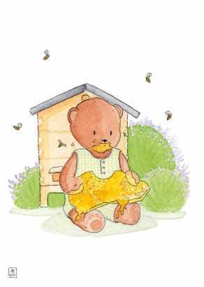 Carte postale éditée par Un Ours dans l'Atelier. Reprographie d'une aquarelle pour enfant représentant un ourson assis prés d'une ruche et mangeant du miel parmi les lavandes et les abeilles.