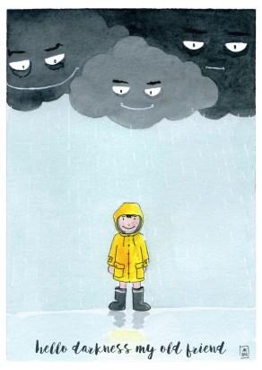 """Carte postale """"Hello darkness my old friend"""" éditée par Un Ours dans l'Atelier. Reprographie d'une aquarelle représentant des nuages menaçants pleuvant sur un petit garçon en ciré de marin jaune."""