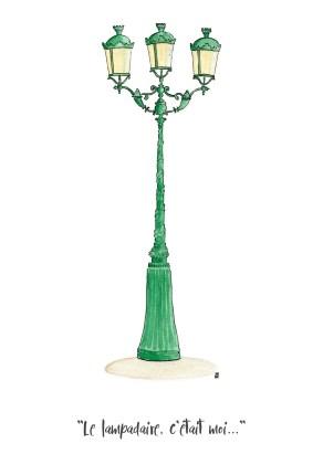 aquarelle représentant un lampadaire parisien avec la fameuse citation des inconnus