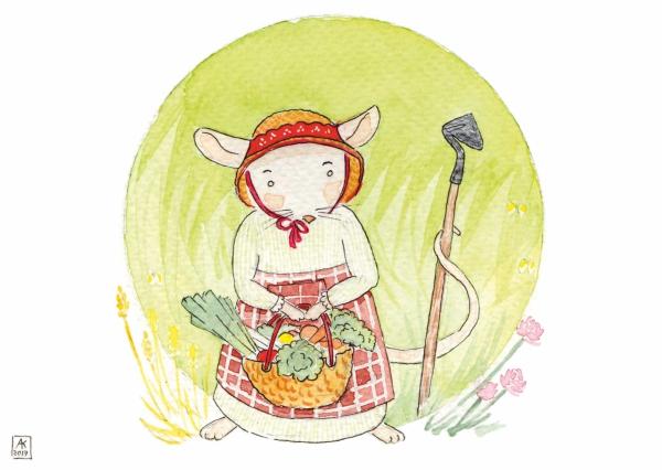 aquarelle de la boutique un ours dans l'atelier représentant une souris des champs cultivant des légumes