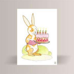 aquarelle de la boutique un ours dans l'atelier représentant un lapin tenant un gâteau d'anniversaire