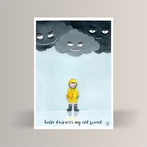 aquarelle de la boutique un ours dans l'atelier représentant un petit garçon en ciré jaune sous la pluie avec de gros nuages menaçants