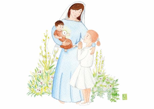 aquarelle de la boutique un ours dans l'atelier représentant la vierge marie et jesus donnant la communion à une jeune fille