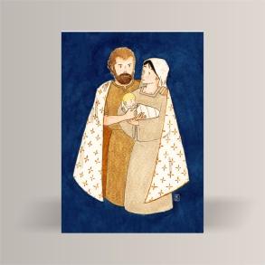 aquarelle de la boutique un ours dans l'atelier représentant la sainte famille marie joseph et jesus en or sur un fond bleu