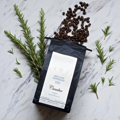Camber coffee's Skyline Espresso coffee with rosemary plant