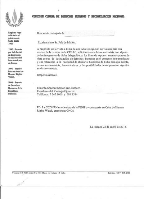 CCDHRN: Carta de Solicitud de Entrevistas con miembros de la CELAC
